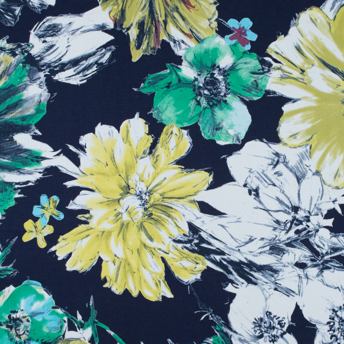 italian navy floral printed stretch cotton twill 316682 11