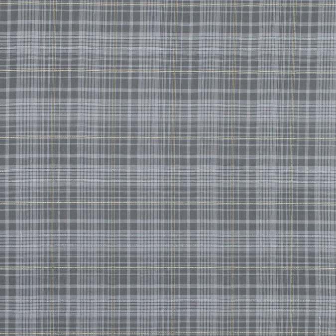 italian opal gray metallic plaid cotton voile 316341 11