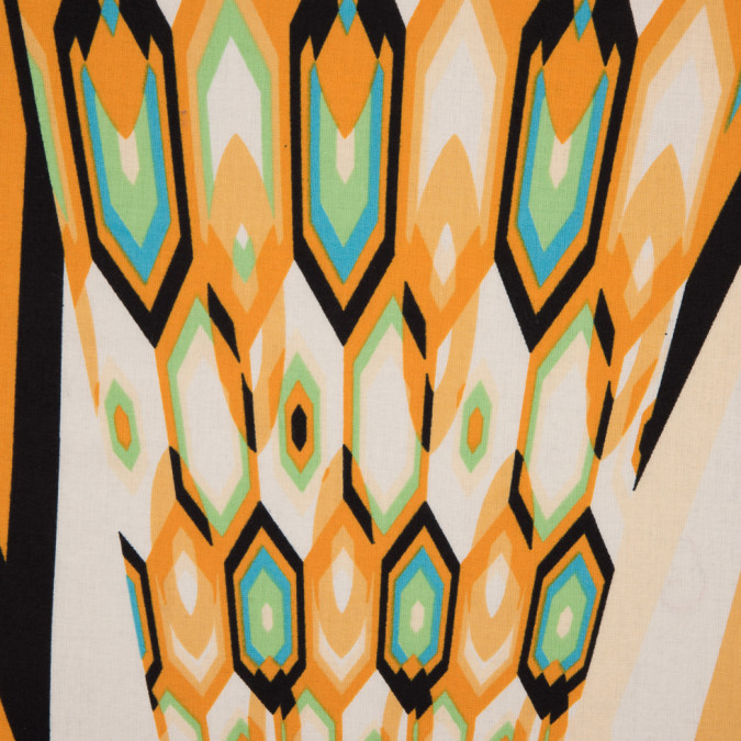 italian orange green abstract geometric printed cotton batiste 310313 11