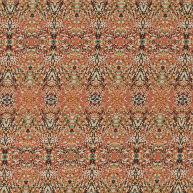italian orange kaleidoscopic digitally printed stretch polyester 316778 11
