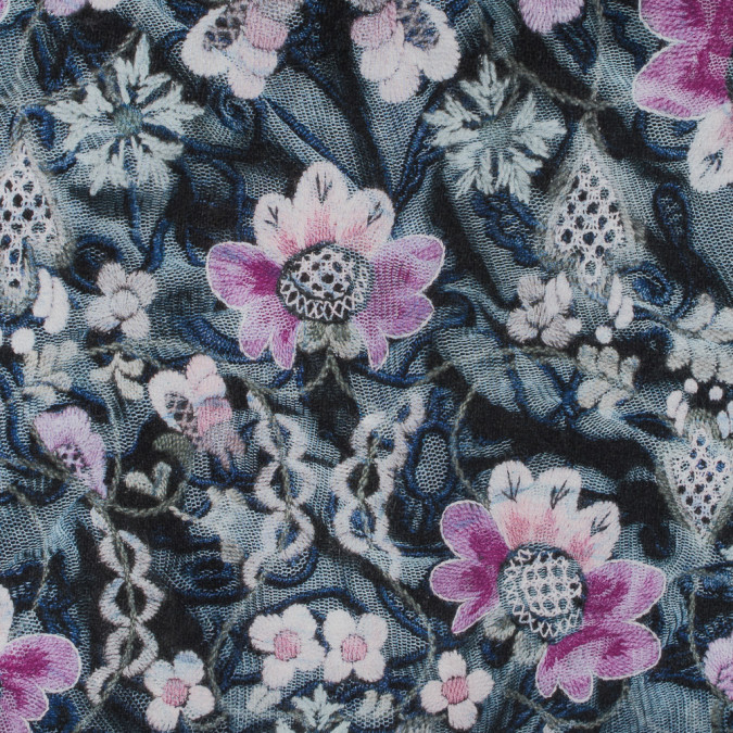 italian pink and blue floral printed jersey knit 316634 11