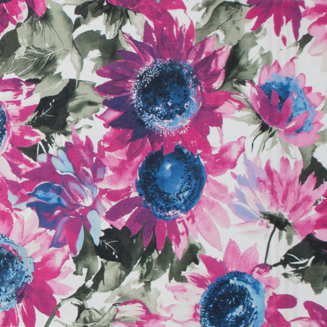 italian pink and olive sunflower printed batiste 317310 11