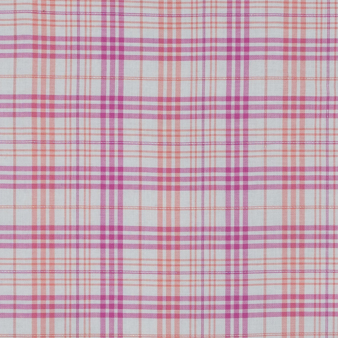 italian pink and orange metallic plaid cotton voile 316345 11
