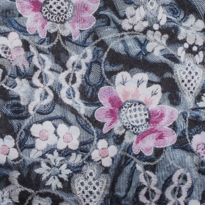 italian pink floral digitally printed polyester charmeuse 316367 11