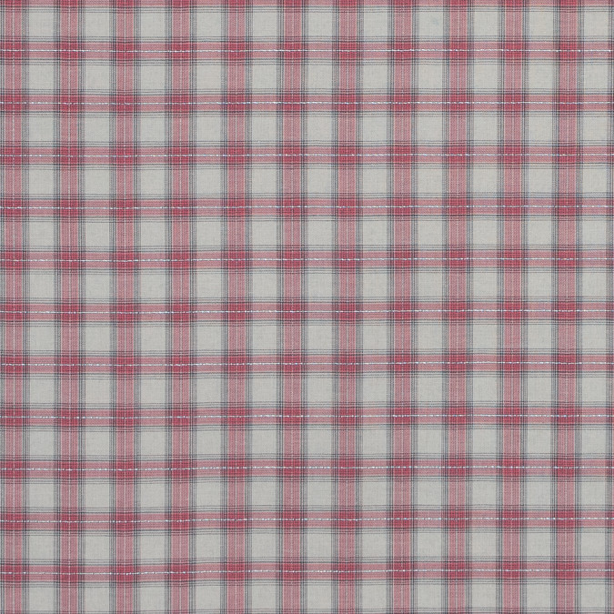 italian pink metallic tartan plaid cotton voile 316342 11