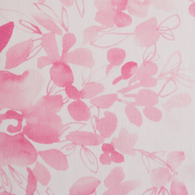 italian pink white floral stretch cotton sateen 309051 11