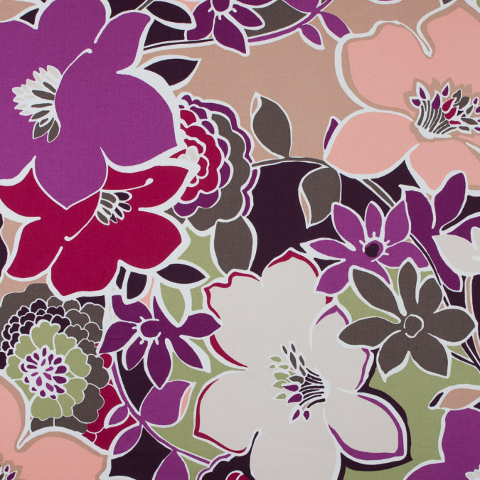italian purple and peach floral stretch cotton sateen 316690 11