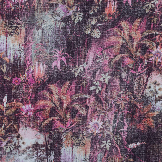 italian purple and pink tropical twill printed stretch cotton 316710 11