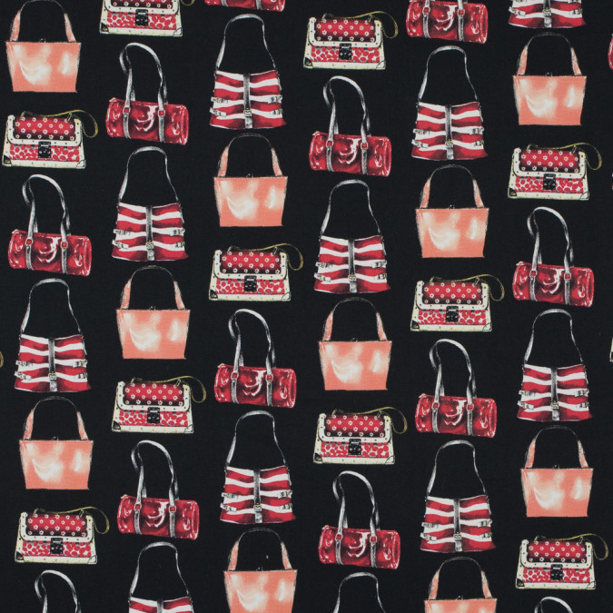 italian red and black purse printed stretch cotton twill 316203 11