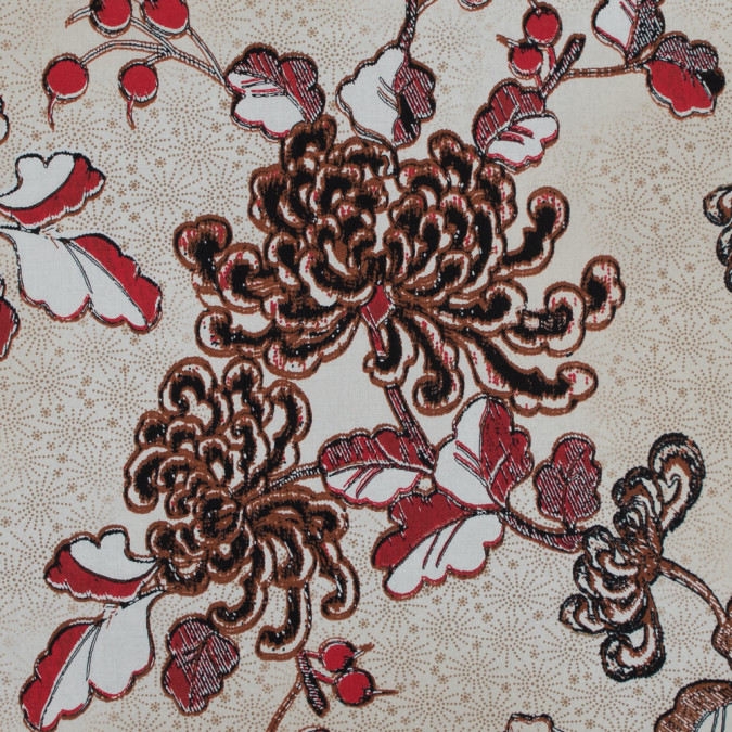 italian red and brown floral cotton batiste 317440 11