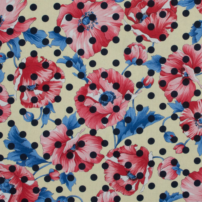 italian red and yellow polka dotted floral batiste 317421 11