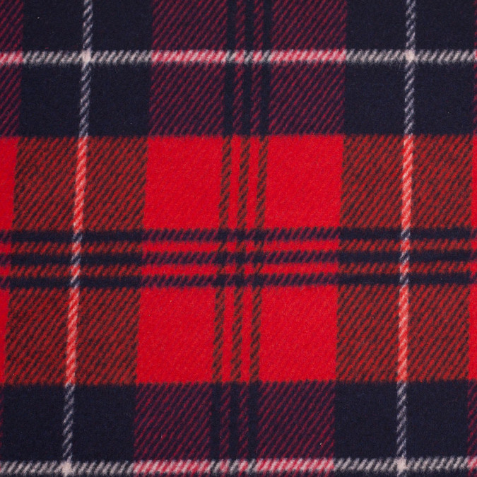 italian red blue plaid flannelled wool coating 306703 11