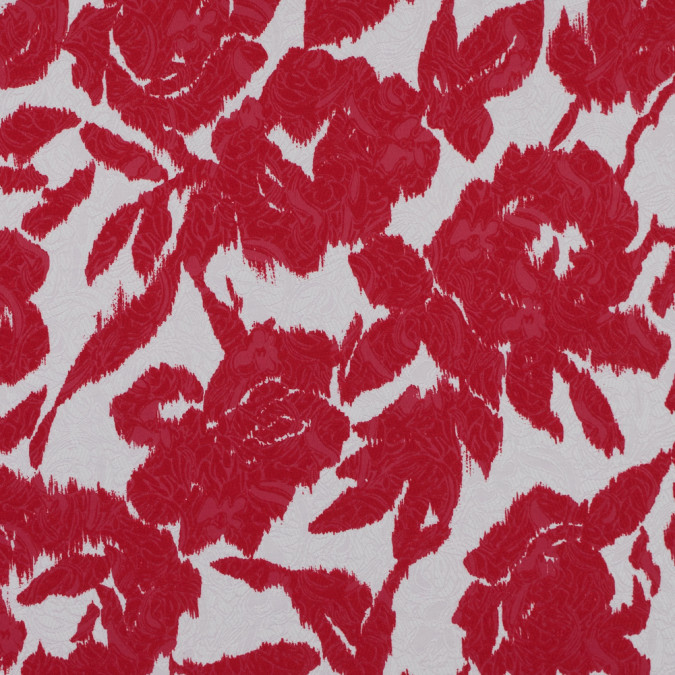 italian red ikat floral cotton jacquard 316368 11