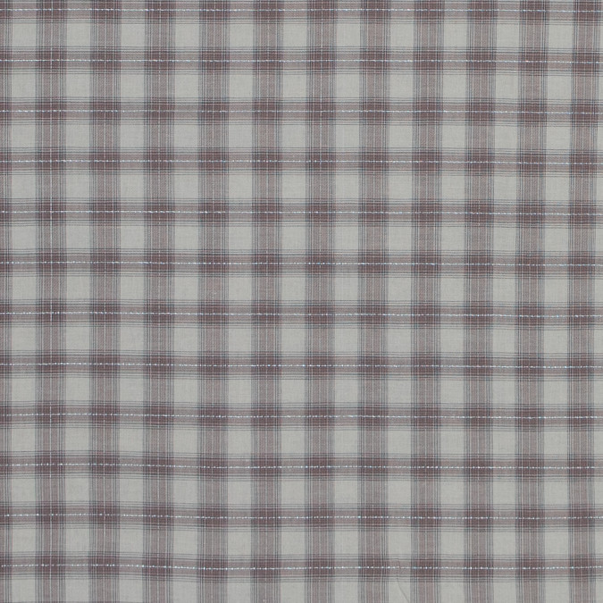 italian warm gray metallic tartan plaid cotton voile 316340 11
