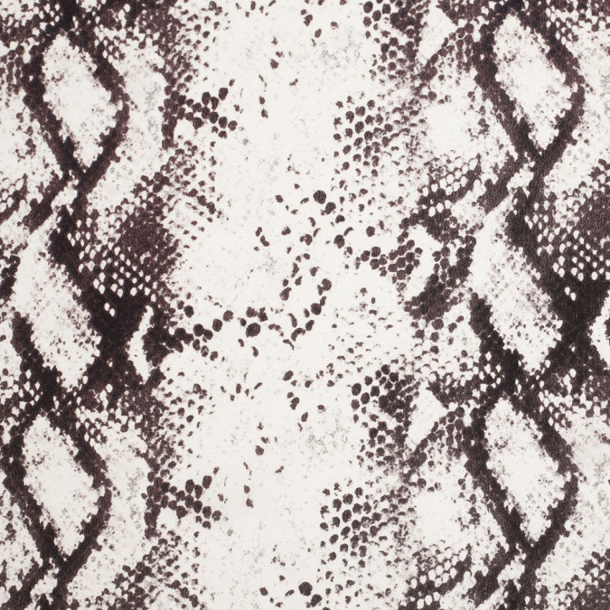 italian white brown python printed silk crepe de chine 306241 11
