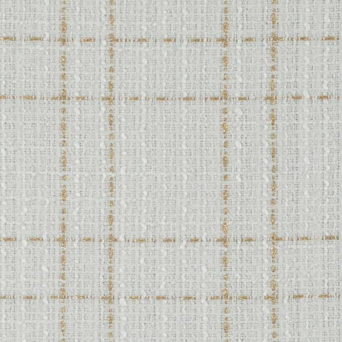 ivory and metallic gold plaid polyester tweed 310963 11