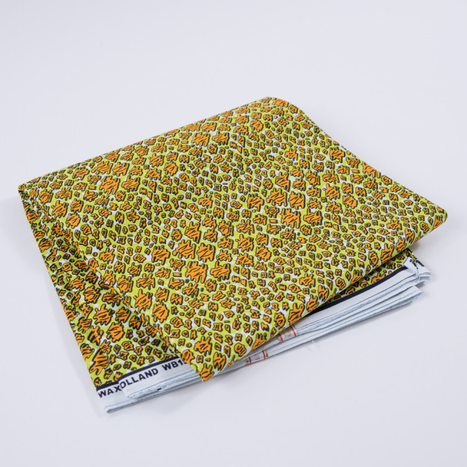 jasmine green and orange abstract waxed cotton african print 313263 11