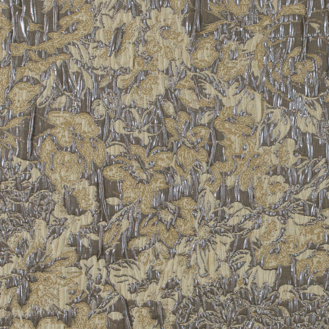 khaki cream and steel gray abstract floral metallic brocade jacquard 311091 11