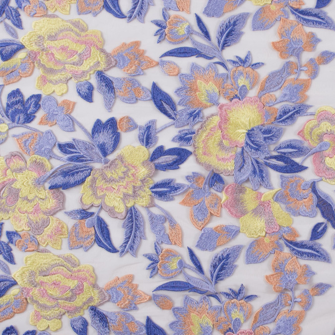 lavender and yellow novelty floral embroidered mesh 113740 11