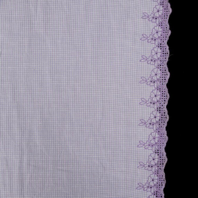 lilac gingham woven with floral embroidered eyelet borders 319115 11