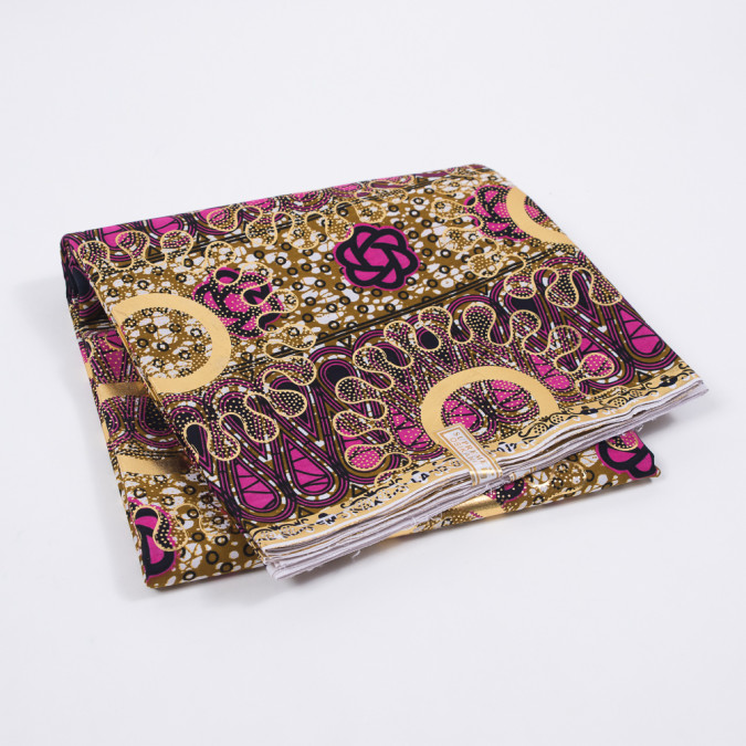 lilac rose and gold waxed cotton african print with gold metallic foil 319504 11