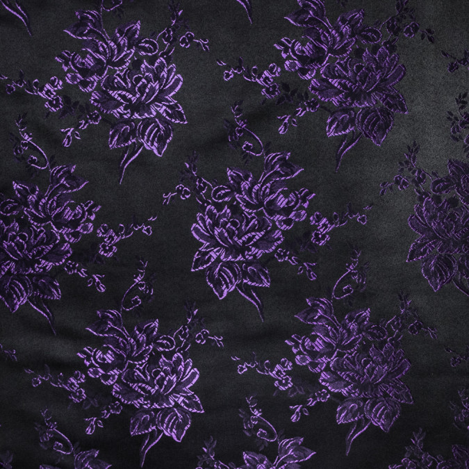luminous purple and black floral satin jacquard 318342 11