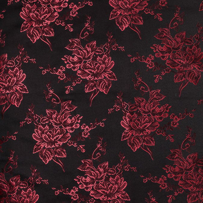 luminous red and black floral satin jacquard 318344 11