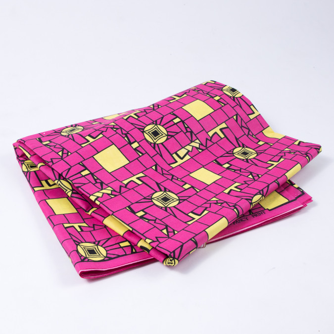 magenta and blazing yellow geometric waxed cotton african print 312691 11