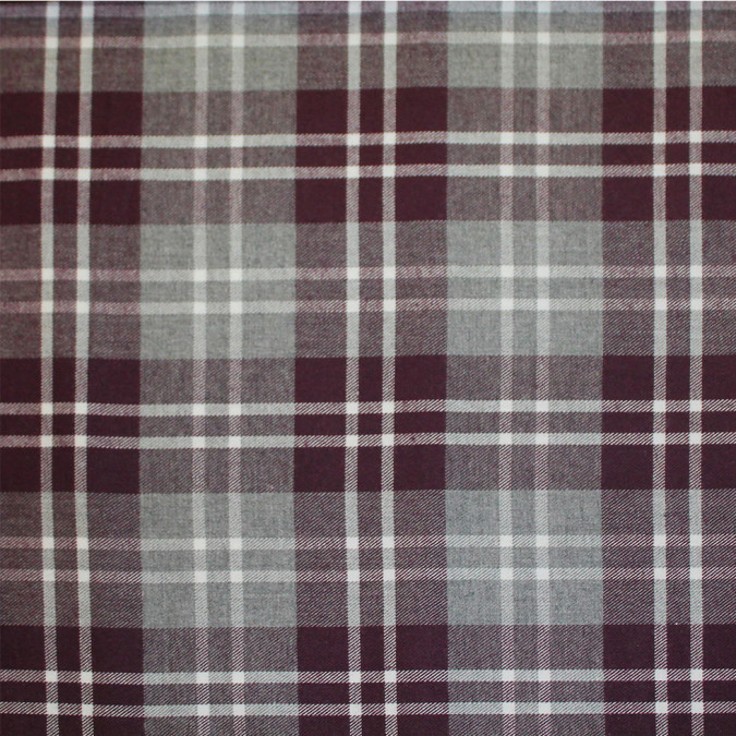 maroon gray tartan plaid cotton flannel 308623 11
