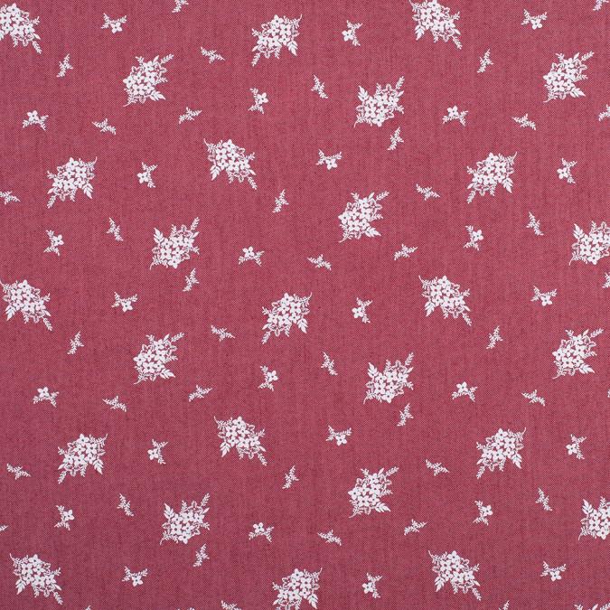 mauve rose floral bouquet cotton poly chambray 308437 11