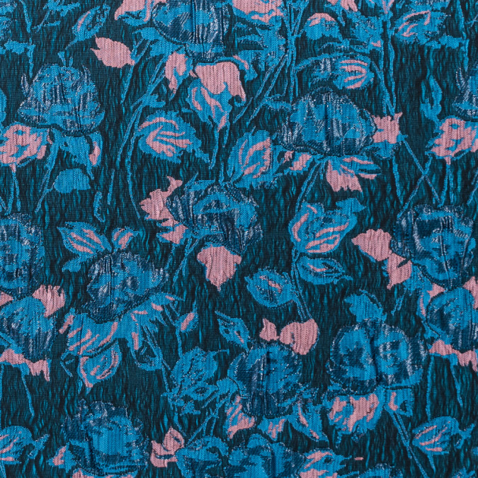 metallic blue and dusty rose floral brocade 312146 11