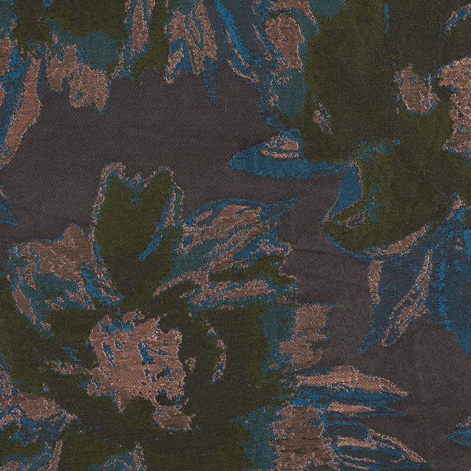 metallic copper green blue floral jacquard 309444 11