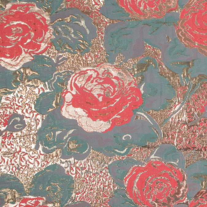 metallic gold neon pink and seafoam rose jacquard 318154 11