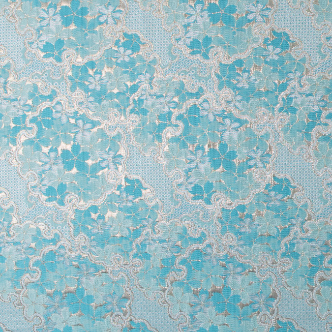 metallic gold and aqua floral brocade 316673 11