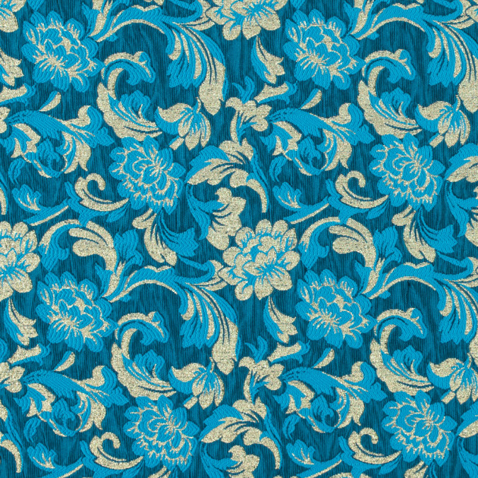 metallic gold and hawaiian ocean blue floral brocade 315312 11