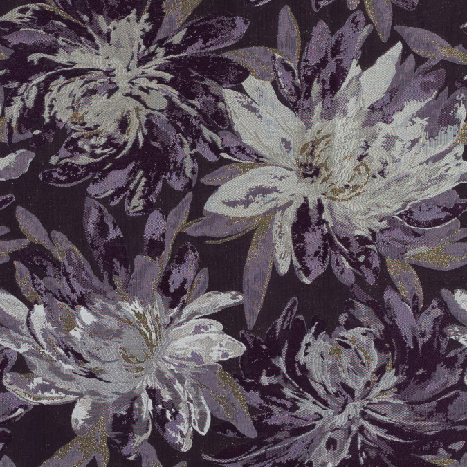 metallic gold and purple floral jacquard 317796 11