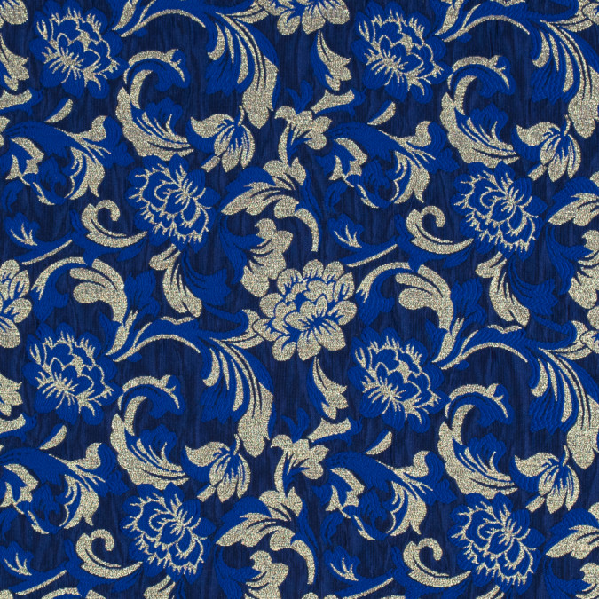 metallic gold and royal blue floral brocade 315313 11