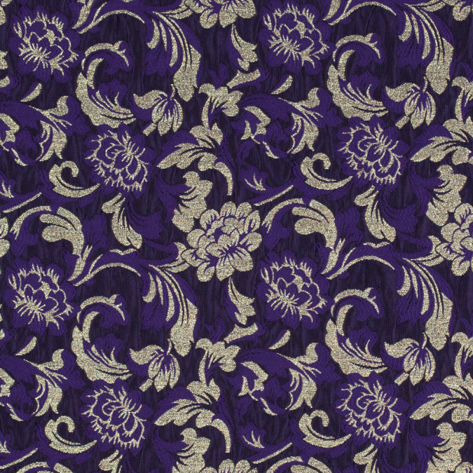 metallic gold and royal purple floral brocade 315311 11