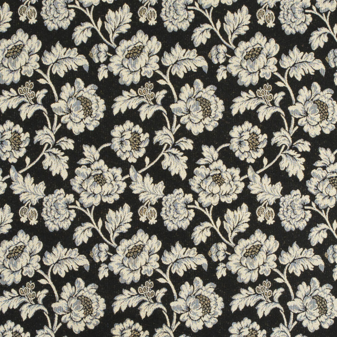 metallic gold black dawn blue floral brocade jacquard 310857 11