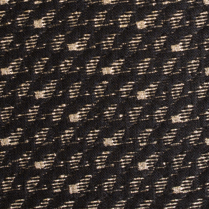 metallic gold black spotted wool polyester brocade 309015 11