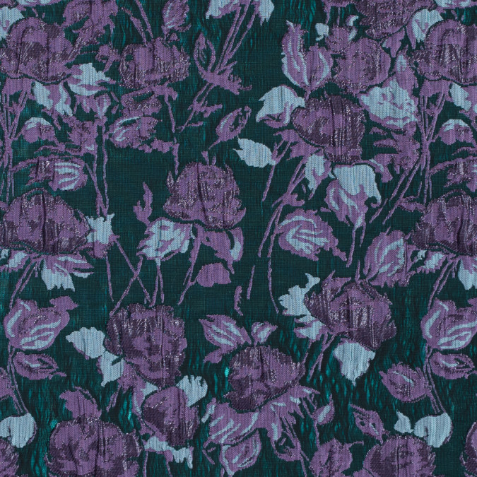 metallic green and purple floral brocade 312135 11