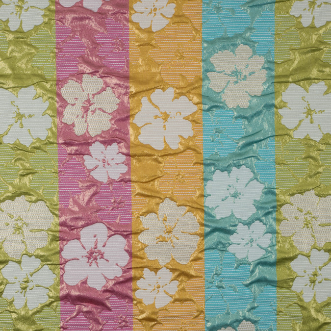 metallic green blue pink yellow hawiian floral polyester brocade 311159 11