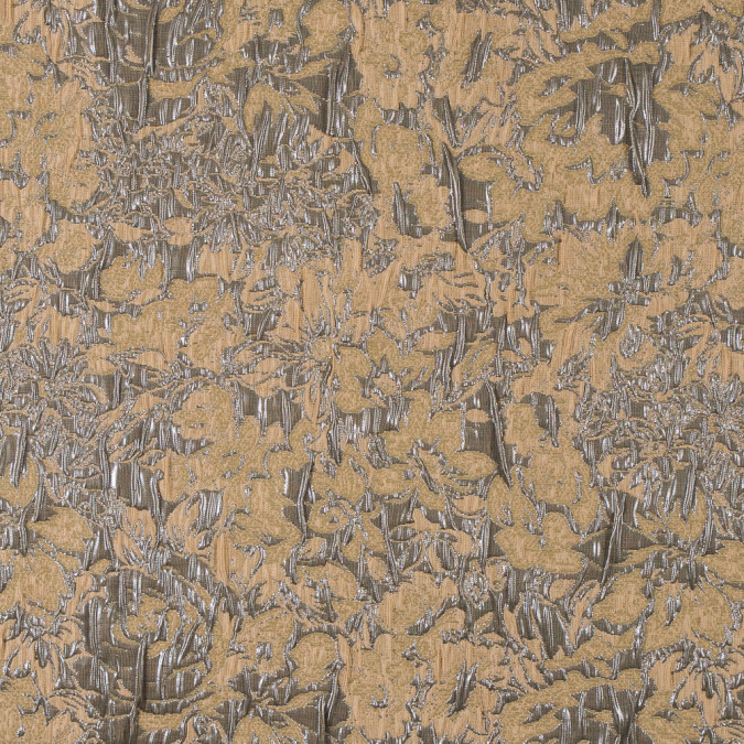 metallic gunmetal and tan abstract floral brocade jacquard 315790 11