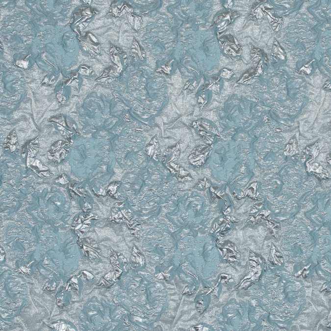metallic silver and aqua rose brocade 118966 11