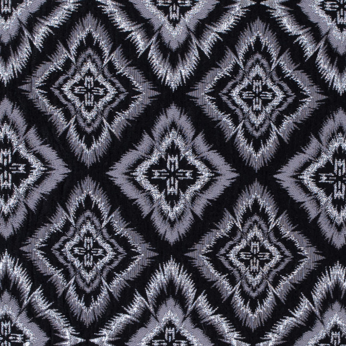 metallic silver and black geometric brocade 312136 11