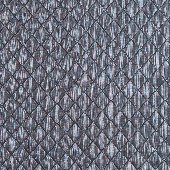 metallic silver and black quilted brocade 311126 11