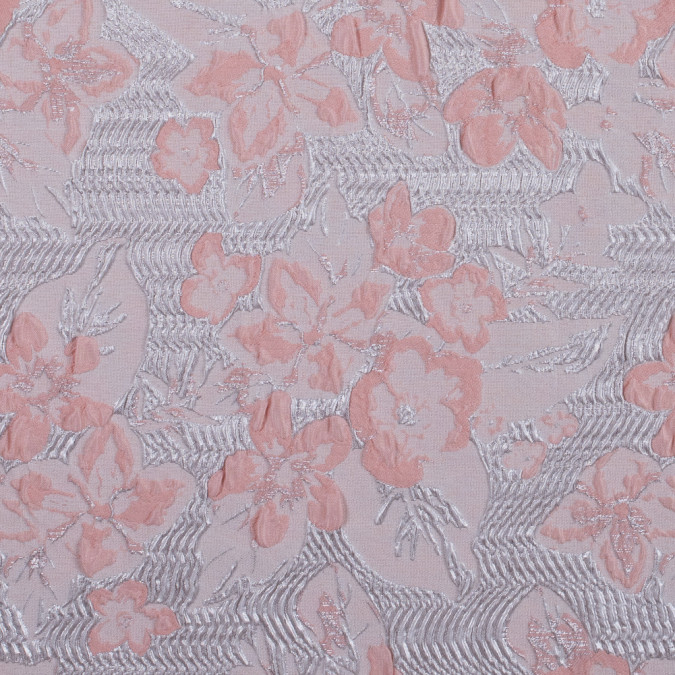metallic silver and peach floral brocade 312147 11