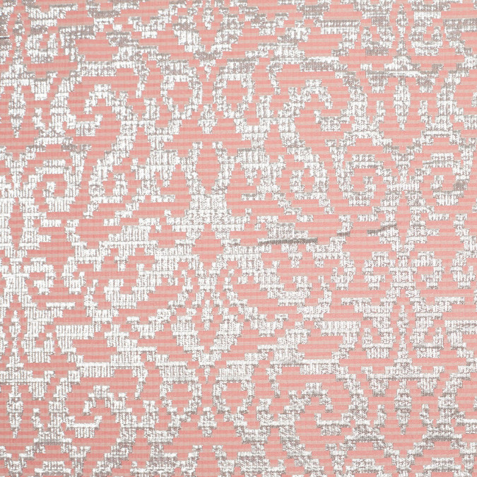metallic silver and pink polyester brocade 305668 11