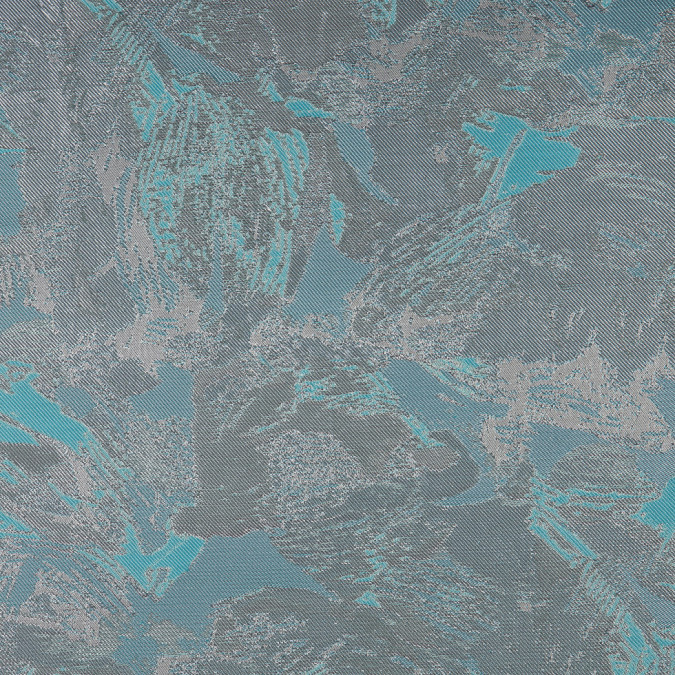 metallic silver aqua abstract jacquard brocade 310450 11