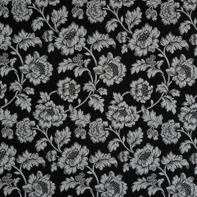 metallic silver phantom black floral brocade 310840 11